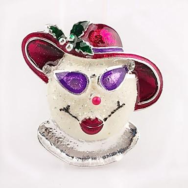 voordelige Dames Sieraden-Dames Broches Klassiek Clown Dames Eenvoudig Strass Broche Sieraden Zilver Voor Kerstmis