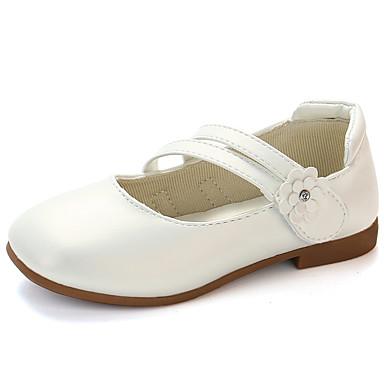 เด็กผู้หญิง รองเท้า PU ฤดูใบไม้ผลิ & ฤดูใบไม้ร่วง / ฤดูใบไม้ผลิ รองเท้าสาวดอกไม้ รองเท้าส้นเตี้ย วสำหรับเดิน ตะขอและห่วง สำหรับ เด็ก / วัยรุ่น สีทอง / ขาว / สีชมพู