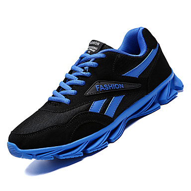 Men's Comfort Shoes Mesh / PU(Polyurethane) Running Fall Sporty Athletic Shoes Running PU(Polyurethane) Shoes Non-slipping Color Block Black / White / Black / Red / Black / Blue baac74