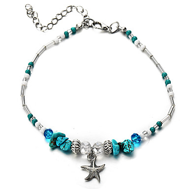 billige Motearmbånd-Dame Turkis Perlearmbånd Armbånd med anheng Vintage Stil Perler Sjøstjerne damer Klassisk Tropisk Harpiks Armbånd Smykker Blå Til Karneval Bikini