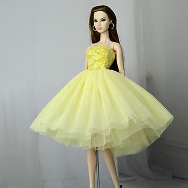 1952b6cacf27 Kjoler Kjole Til Barbiedoll Lysegul Tyl   Blonde   Silke   Bomulds Blanding  Kjole Til Pigens