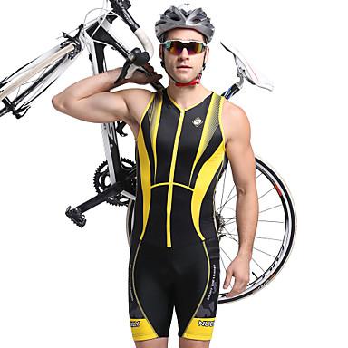 Nuckily Herrn Kurzarm Triathlonanzug - Gelb Geometrisch Fahhrad Anatomisches Design, UV-resistant, Atmungsaktiv Polyester, Elasthan Streifen / Dehnbar / SBS Reißverschlüsse