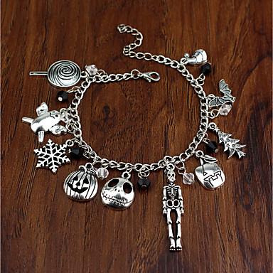 abordables Bracelet-Chaînes Bracelets Femme Découpé Crâne Tete de Mort Arbre de Noël Gros Fantaisie dames Branché Bracelet Bijoux Argent Irrégulier pour Noël Halloween