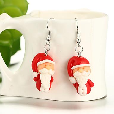 billige Moteøreringer-Jente Dråpeøreringer Santa damer Tegneserie Mote søt stil Datter Harpiks øredobber Smykker Rød Til Jul 1 par