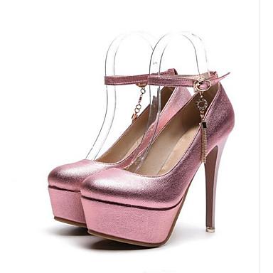 Women's Stiletto Pumps PU(Polyurethane) Spring Heels Stiletto Women's Heel Gold / Silver / Pink f7acc1