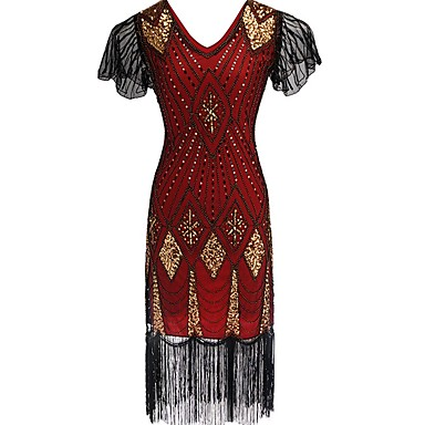 f67c9e0a4e9 The Great Gatsby Vintage 1920s Roaring Twenties Costume Women s Flapper  Dress Blue   Golden   Red