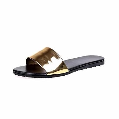 voordelige Damespantoffels & slippers-Dames Slingback Lakleer Lente zomer minimalisme Slippers & Flip-Flops Wandelen Platte hak Peep Toe Wit / Zwart / Zilver