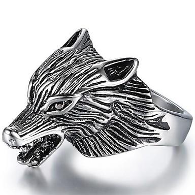 voordelige Heren Ring-Heren Stijlvol 3D Ring Titanium Staal Wolf Punk Modieuze ringen Sieraden Zilver Voor Straat 8 / 9 / 10 / 11 / 12