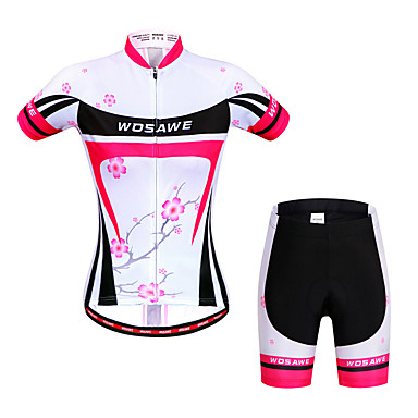 WOSAWE Women's Short Sleeve Cycling Jersey with Shorts - Peach Floral Botanical Bike Shorts Jersey Clothing Suit Breathable 3D Pad Quick Dry Anatomic Design Reflective Strips Sports Elastane Floral