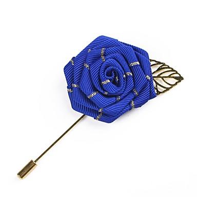 abordables Epingles & Broches-Homme Broche Rétro Roses Flower Shape simple Basique Broche Bijoux Gris Rose dragée clair Bleu royal Pour Mariage Soirée