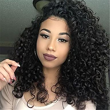Cabello Natural Remy Vollspitze Spitzenfront Perücke Asymmetrischer Haarschnitt Kardashian Stil Brasilianisches Haar Afro Kinky Schwarz Perücke 130% 150% 180% Haardichte mit Babyhaar Modisches Design