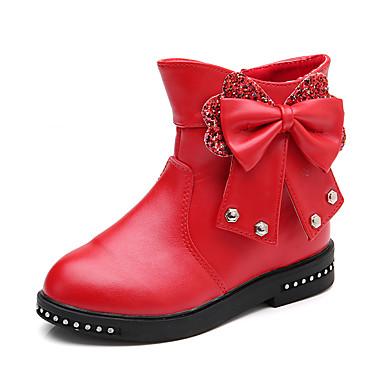 Χαμηλού Κόστους Ξεπούλημα Παπουτσιών-Κοριτσίστικα PU Μπότες Νήπιο (9m-4ys) / Τα μικρά παιδιά (4-7ys) / Μεγάλα παιδιά (7 ετών +) Μοντέρνες μπότες Περπάτημα Τεχνητό διαμάντι / Φιόγκος / Ταινία Δεσίματος Μαύρο / Κόκκινο / Ροζ / Καοτσούκ