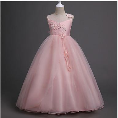 رخيصةأون ملابس الأميرات-فستان بدون كم لون سادة حلو للفتيات أطفال / طفل صغير