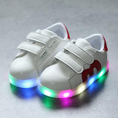 Jongens / Meisjes Schoenen PU Lente & Herfst Comfortabel / Oplichtende schoenen Sneakers Haak & Lus / LED voor Kinderen / Peuter Zwart / Rood / Blauw