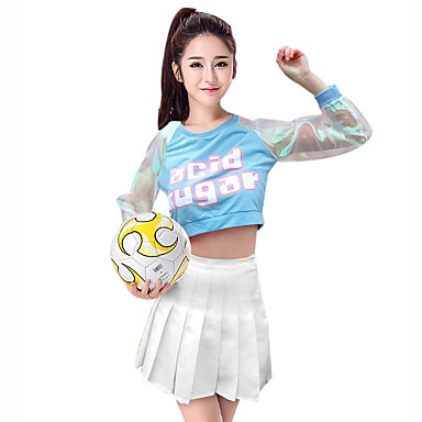 25657b90b Cheerleader Costumes Outfits Women's Performance Spandex Pattern / Print /  Ruching / Split Joint Long Sleeve Dropped Skirts / Top #06931704
