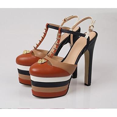 رخيصةأون صنادل نسائية-نسائي صنادل أحذية الراحة كعب متوسط Leather نابا الربيع أزرق داكن / أحمر / بني فاتح