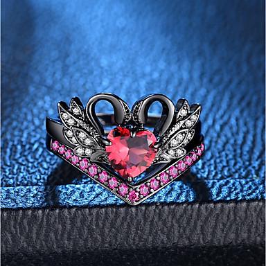abordables Bague-Bague / Anneaux Ensemble d'anneaux Bagues Femme Rouge Multirang Cuivre Imitation Diamant Cygne Princesse dames Romantique Mode Français Bagues Tendance Bijoux Noir Adorable pour Soirée Rendez-vous