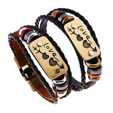 abordables Bracelet-Bracelet à Perles Bracelets en cuir Homme Tressé Gravé Cuir Cœur Lettre Artistique Bracelet Bijoux Noir Marron Irrégulier pour Plein Air