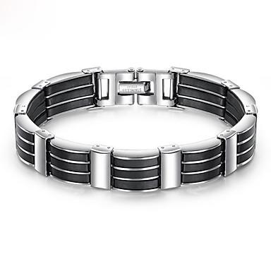 voordelige Herensieraden-Heren Armband Dikke ketting Uniek ontwerp modieus Initial Roestvast staal Armband sieraden Zwart Voor Straat / Siliconen / Titanium Staal / Platina Verguld
