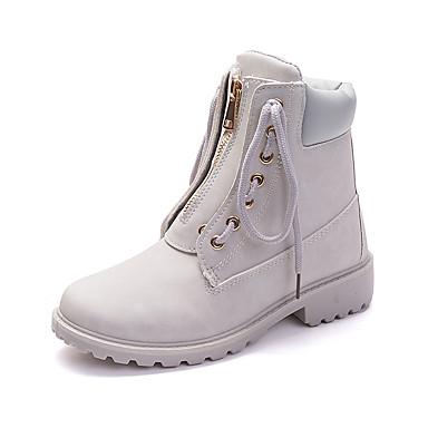 povoljno Ženske cipele-Žene Čizme Udobne cipele Niska potpetica Okrugli Toe Eko koža slatko / minimalizam Jesen zima Svjetlo siva / Pink / Deva / Prugasti uzorak