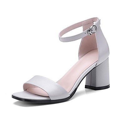 Women's Comfort Light Shoes Nappa Leather Summer Sandals Chunky Heel Light Comfort Grey / Green dd95fb