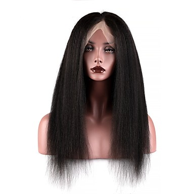 cheap Human Hair Wigs-Human Hair Full Lace Wig style Brazilian Hair Burmese Hair Yaki Straight Natural Black Wig 130% Density with Baby Hair Women Easy dressing Best Quality Hot Sale Natural Natural Black Women's Long