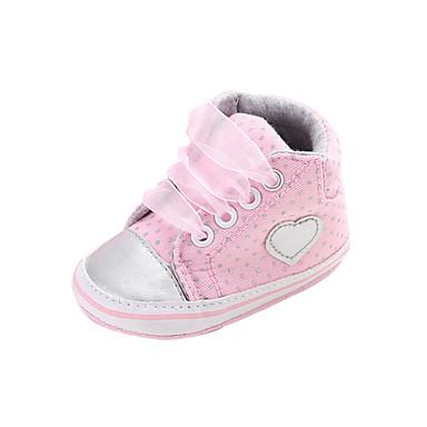 저렴한 9개월-4세 연령대-여아 면 부츠 유아 (9m-4ys) 컴포트 레이스-업 / 도트무늬 그레이 / 핑크 가을 겨울