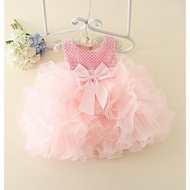 povoljno Haljinice za bebe-Dijete Djevojčice Osnovni Jednobojni Bez rukávů Pamuk Haljina Blushing Pink / Dijete koje je tek prohodalo
