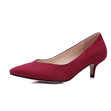 Kadın's Ayakkabı Mikrofiber Yaz Topuklular Düşük Topuk Günlük için Siyah / Mor / Kırmzı / Konforlu Ayakkabılar