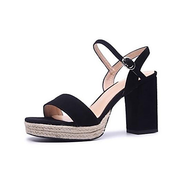 cheap Going to the beach-Women's Comfort Shoes Suede Summer Sandals Chunky Heel Black / Green