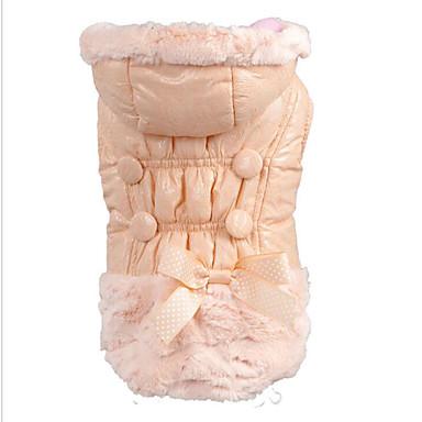 Psi Mačke Kaputi Odjeća za psa Jednobojni Jednostavan Mašna Pink Umjetnog krzna Kostim Za Zima Ženska Ugrijati Moda