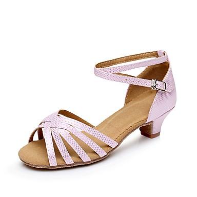baratos Shall We® Sapatos de Dança-Mulheres Sapatos de Dança Couro Ecológico Sapatos de Dança Latina Salto Salto Grosso Personalizável Prata / Rosa claro / Azul marinho