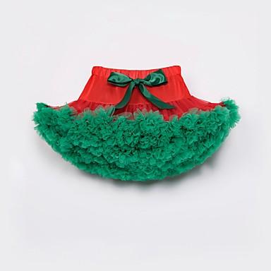 baratos Saias para Meninas-Infantil Bébé Para Meninas Activo Básico Natal Diário Feriado Estampa Colorida Laço Multi Camadas Frufru Saia Vermelho / Com Transparência