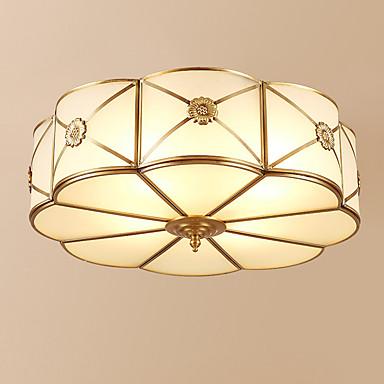3-Light Cirkularno Flush Mount Ambient Light Antique Brass Metal Glass Kreativan 110-120V / 220-240V Meleg fehér