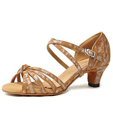 Djevojčice Plesne cipele Eko koža Cipele za latino plesove Isprepleteni dijelovi Štikle Ravna potpetica Pink / Deva / Tamno smeđa / Seksi blagdanski kostimi / Vježbanje
