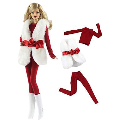 voordelige Poppenaccessoires-Pop Outfit Pop jas Poppenbroek Broeken Tops 3 pcs Voor Barbie Modieus Red and White Geweven stof Doek Katoenen Doek Jas / Top / Broeken Voor voor meisjes Speelgoedpop