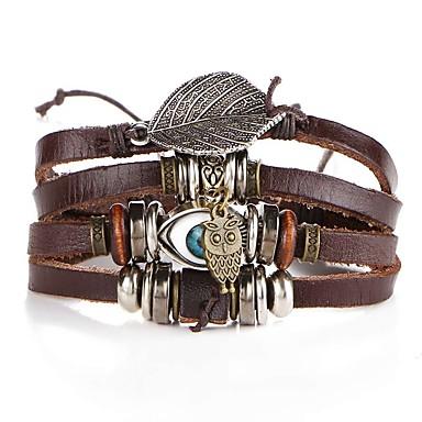 voordelige Herensieraden-Heren Lederen armbanden Gevlochten Uil Ogen Artistiek Uniek ontwerp PU Armband sieraden Bruin Voor Avond Feest Straat