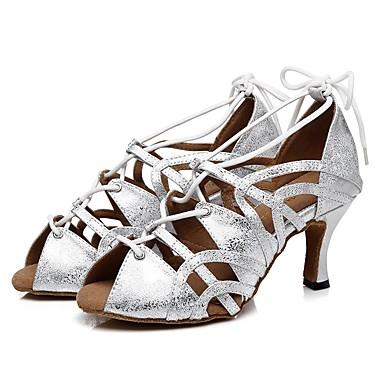 baratos Shall We® Sapatos de Dança-Mulheres Sapatos de Dança Couro Envernizado Sapatos de Dança Latina Cadarço de Borracha Sandália Salto Alto Magro Dourado / Branco / Prata / Espetáculo / Ensaio / Prática