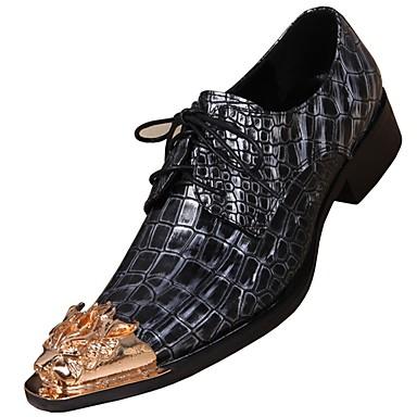 povoljno Muške oksfordice-Muškarci Kožne cipele Mekana koža Proljeće Uglađeni Oksfordice Non-klizanje Crn / Zabava i večer
