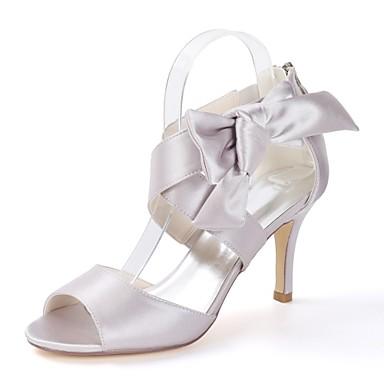 0717d696bf baratos Sapatos de Noiva-Mulheres Saltos empilhados com tiras Cetim Outono    Primavera Verão Minimalismo