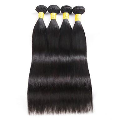 4 paketića Malezijska kosa Ravan kroj Ljudska kosa Ljudske kose plete Produžetak Bundle kose 8-28 inch Natural Prirodna boja Isprepliće ljudske kose Nježno Svilenkast Smooth Proširenja ljudske kose