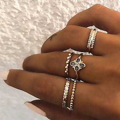 baratos Bijuteria de Mulher-Mulheres Anéis para Falanges / Conjunto de anéis / Anel Multidedos 5pçs Dourado / Prata Resina / Imitações de Diamante / Liga Formato Circular senhoras / Vintage / Punk Presente / Diário / Rua Jóias