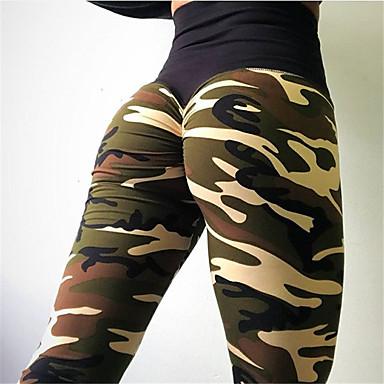 bb8651564b2f91 Women's Patchwork Yoga Pants Sports Camo / Camouflage Spandex High Rise  Leggings Zumba Dance Running Activewear