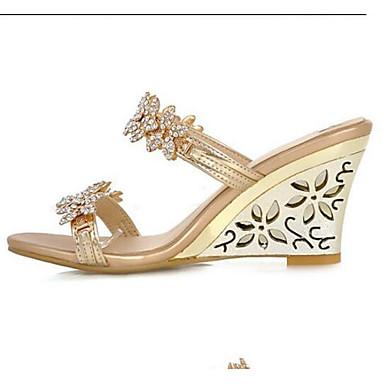 Žene Udobne cipele PU Ljeto Sandale Wedge Heel Zlato / Srebro