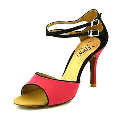 Per donna Scarpe per balli latini Sintetico Tacchi Tacco alto sottile Scarpe da ballo Giallo / Rosa / Rosso scuro / Prestazioni / Di pelle / Da allenamento