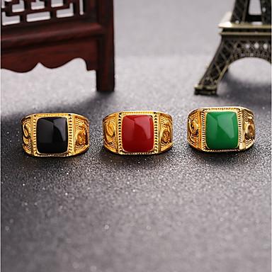 voordelige Herensieraden-Heren Ring Zegelring Onyx 1pc Zwart Rood Groen Legering Kubusvormig Hyperbool Bruiloft Dagelijks Sieraden 3D