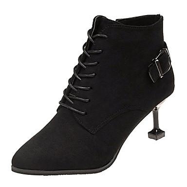 f53414fcf نسائي أحذية ستايل حديث PU خريف & شتاء كاجوال كتب كعب القطة حذاء براس مدبب  البوط القصير / بوط الكاحل أسود / بني داكن