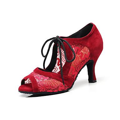 baratos Shall We® Sapatos de Dança-Mulheres Sapatos de Dança Renda Sapatos de Dança Latina Renda Sandália Salto Alto Magro Personalizável Preto / Vermelho Escuro / Espetáculo / Ensaio / Prática