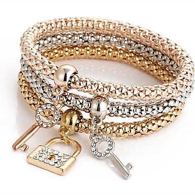 abordables Parure Bracelet-3pcs Bracelet Pendentif Parure Bracelet Bracelets de mémoire Femme Multirang Strass Amitié dames Doux Italien Bracelet Bijoux Or Rose pour Cérémonie Soirée