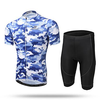 XINTOWN رجالي كم قصير جورسيه الدراجة مع الشورت - أزرق مموه دراجة هوائية شورتس / جورسيه / مجموعات الثياب, متنفس, 3D وسادة, سريع جاف, شرائط عاكسة, يلف العرق مموه / قابل للبسط